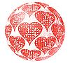 Vektor Cliparts: Glaskugel mit roter Verzierung von Herzen