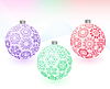 Vector clipart: Christmas-balls with snowflakes texture