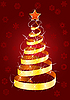 Vector clipart: Christmas fur-tree on red background
