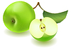 Vector clipart: Green apple and slice with leaf