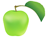 Vector clipart: Green apple with leaf