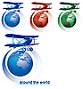 Around the world by biplane | Stock Vector Graphics