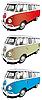 Minibus conjunto | Ilustración vectorial
