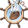 Vector clipart: ship and wheel