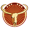 Vector clipart: vignette with skull of Buffalo