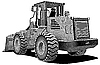 Vector clipart: bulldozer engraving