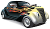 Vektor Cliparts: Hot-Rod mit Flammen