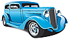 Vector clipart: light blue hot rod