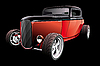 Vector clipart: red hot rod on black