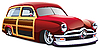 Vector clipart: wooden body hot rod