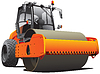 Vector clipart: orange road roller