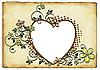 Photo 300 DPI: old paper background with ornaments in the form of heart