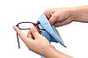 Cleaning eyeglasses | Stock Foto