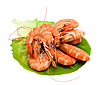 Fresh shrimp on lettuce leaf | Stock Foto