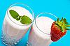 Strawberry milkshake on blue   Stock Foto