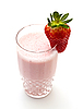 Strawberry milkshake on white | Stock Foto