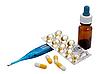 ID 3013825 | Vitamine, Pillen und Thermometer | Foto mit hoher Auflösung | CLIPARTO