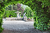 A fountain in the park of roses. Baden-Baden.  | Stock Foto