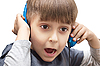 Portrait of boy with headphones | Stock Foto