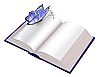 Vector clipart: Open book with butterfly