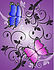 Vector clipart: pattern with colorful butterflies