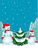 Vector clipart: snowman family near the Christmas tree.