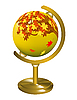 Vector clipart: Globe with the image of the autumn landscape.