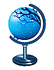 Vector clipart: Globe with the image of the winter landscape.