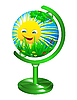 Vector clipart: Globe with the image of the summer landscape.