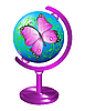 Vector clipart: Globe with the image of butterfly.