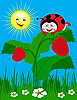 Vector clipart: Ladybug on green leaf