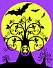 Vector clipart: night tree with an owl