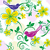 Vector clipart: Seamless floral pattern with birds