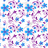 Vector clipart: Seamless floral blue pattern in pastel colors.