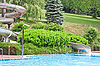 Water pool outside with slide | Stock Foto