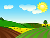 Vector clipart: Environmentally prosperous rural landscape