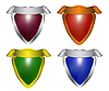 Collection of colorful shields