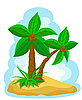Vector clipart: palm trees with coconut