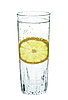 Lemon in glass of sparkling water | Stock Foto