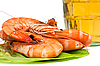 Fresh shrimp and glass of beer | Stock Foto