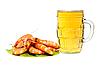 Fresh shrimp on lettuce leaf and glass of beer   Stock Foto