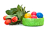 Easter eggs with bouquet of tulips | Stock Foto