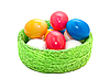 Easter eggs in wicker basket | Stock Foto