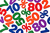 Background of numbers and percents - sale | Stock Foto
