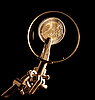 Photo 300 DPI: Euro coins under magnifying glass