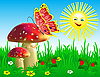 Vector clipart: Summer landscape with mushrooms and butterfly.
