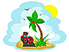 Vector clipart: car with the luggage under palm tree