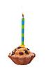 Urodziny cupcake z świeca | Stock Foto
