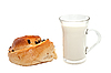 Photo 300 DPI: Glass of milk and bun.