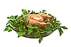 Photo 300 DPI: Grilled chicken on platter with parsley.